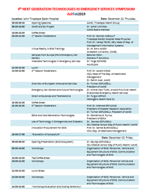 "Program of ""4th Generation Technologies Symposium in Emergency Services"""
